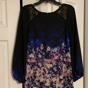 Black and blue sheath dress with floral detail
